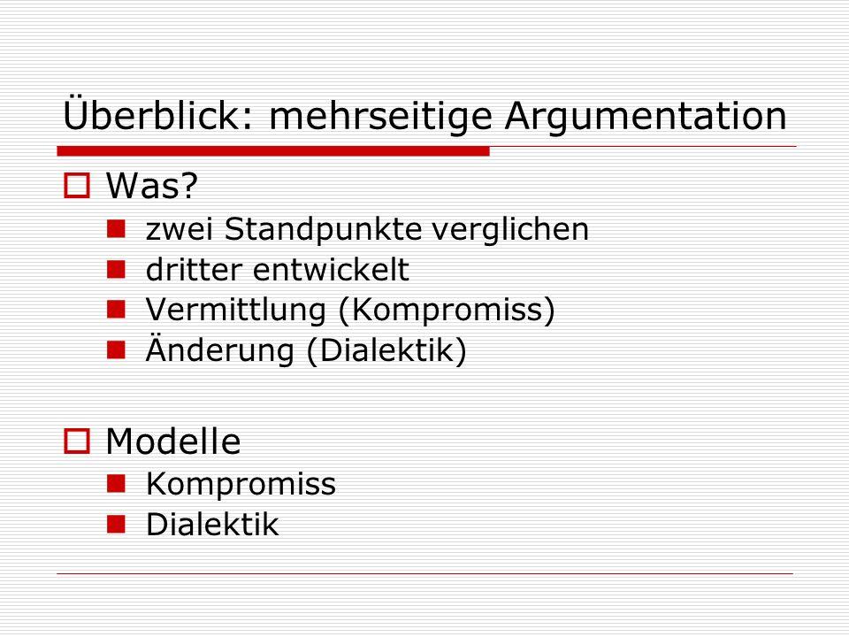 Überblick: mehrseitige Argumentation  Was? zwei Standpunkte verglichen dritter entwickelt Vermittlung (Kompromiss) Änderung (Dialektik)  Modelle Kom