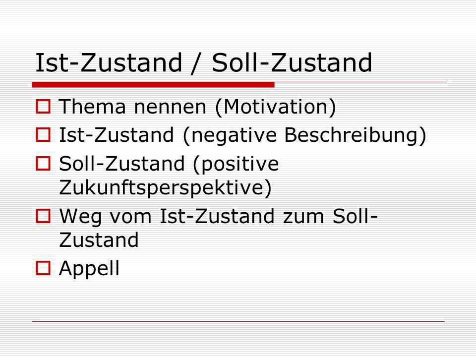 Ist-Zustand / Soll-Zustand  Thema nennen (Motivation)  Ist-Zustand (negative Beschreibung)  Soll-Zustand (positive Zukunftsperspektive)  Weg vom I