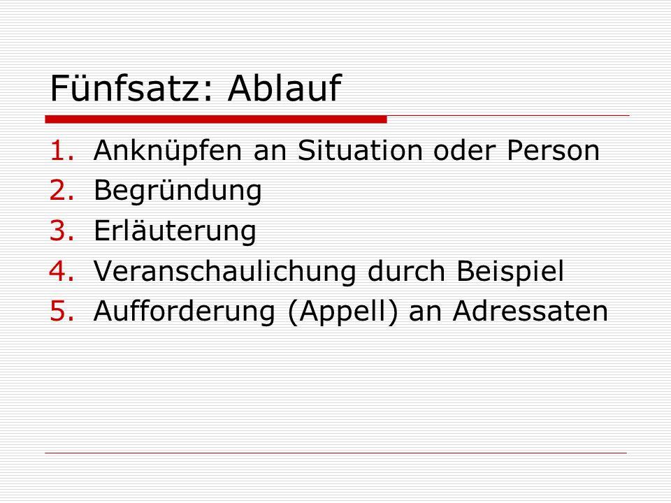 Fünfsatz: Ablauf 1.Anknüpfen an Situation oder Person 2.Begründung 3.Erläuterung 4.Veranschaulichung durch Beispiel 5.Aufforderung (Appell) an Adressa