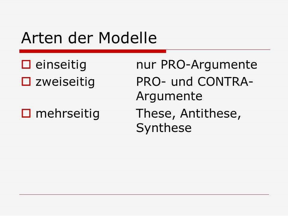 Arten der Modelle  einseitig nur PRO-Argumente  zweiseitig PRO- und CONTRA- Argumente  mehrseitig These, Antithese, Synthese
