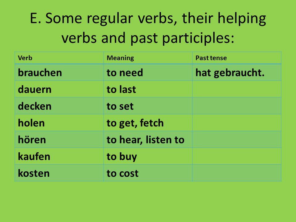 E. Some regular verbs, their helping verbs and past participles: VerbMeaningPast tense brauchento needhat gebraucht. dauernto last deckento set holent