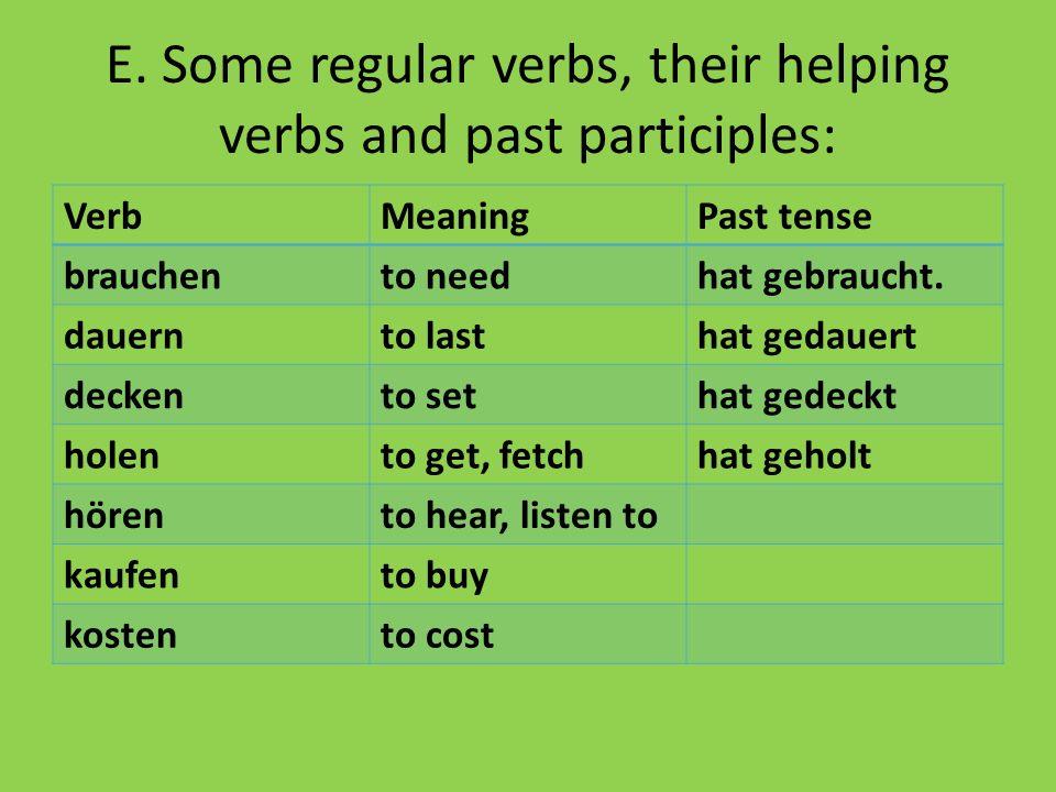 E. Some regular verbs, their helping verbs and past participles: VerbMeaningPast tense brauchento needhat gebraucht. dauernto lasthat gedauert deckent