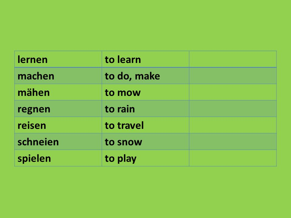 lernento learn machento do, make mähento mow regnento rain reisento travel schneiento snow spielento play