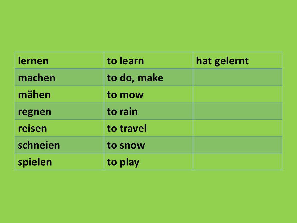 lernento learnhat gelernt machento do, make mähento mow regnento rain reisento travel schneiento snow spielento play