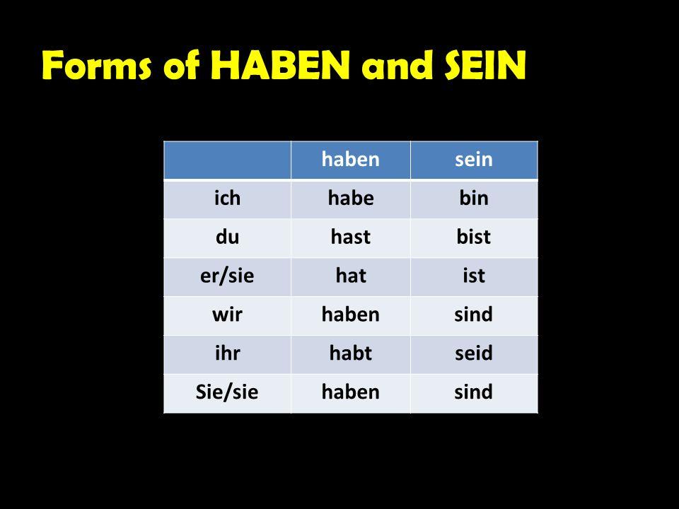 Forms of HABEN and SEIN habensein ichhabebin duhastbist er/siehatist wirhabensind ihrhabtseid Sie/siehabensind