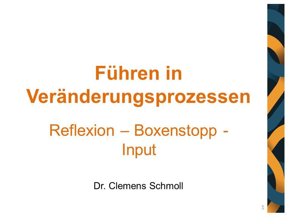 Führen in Veränderungsprozessen Reflexion – Boxenstopp - Input Dr. Clemens Schmoll 1