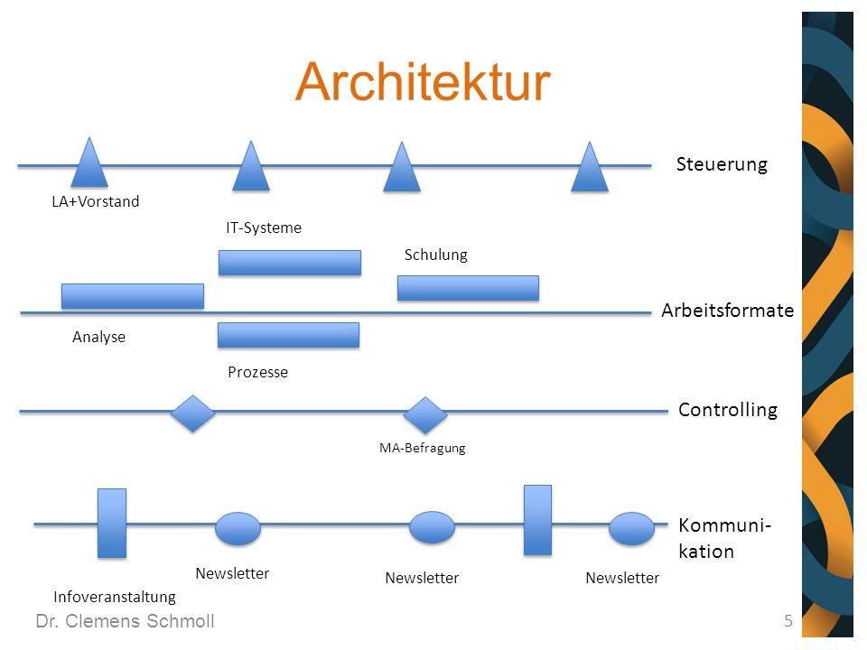Architektur Dr. Clemens Schmoll 5 Steuerung Arbeitsformate LA+Vorstand Analyse Prozesse Schulung IT-Systeme Controlling MA-Befragung Kommuni- kation N