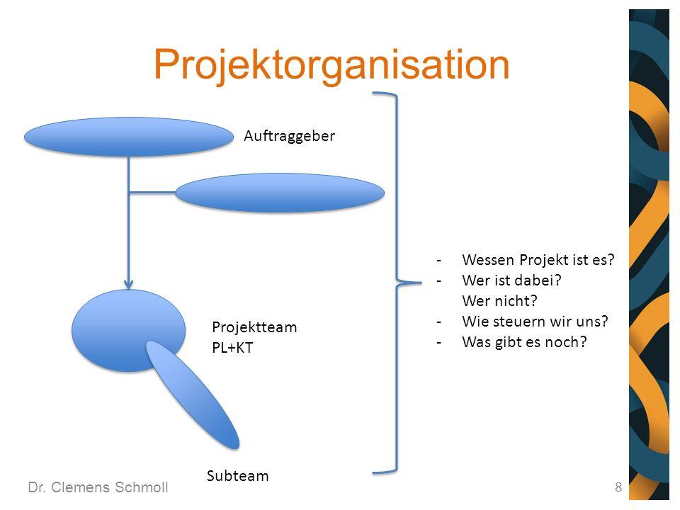 Projektorganisation Dr. Clemens Schmoll 8 Auftraggeber Projektteam PL+KT Subteam -Wessen Projekt ist es? -Wer ist dabei? Wer nicht? -Wie steuern wir u