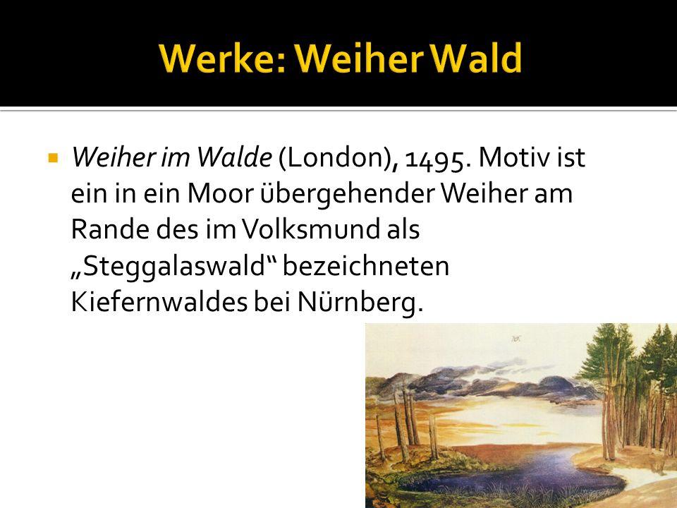 """ Weiher im Walde (London), 1495. Motiv ist ein in ein Moor übergehender Weiher am Rande des im Volksmund als """"Steggalaswald"""" bezeichneten Kiefernwald"""
