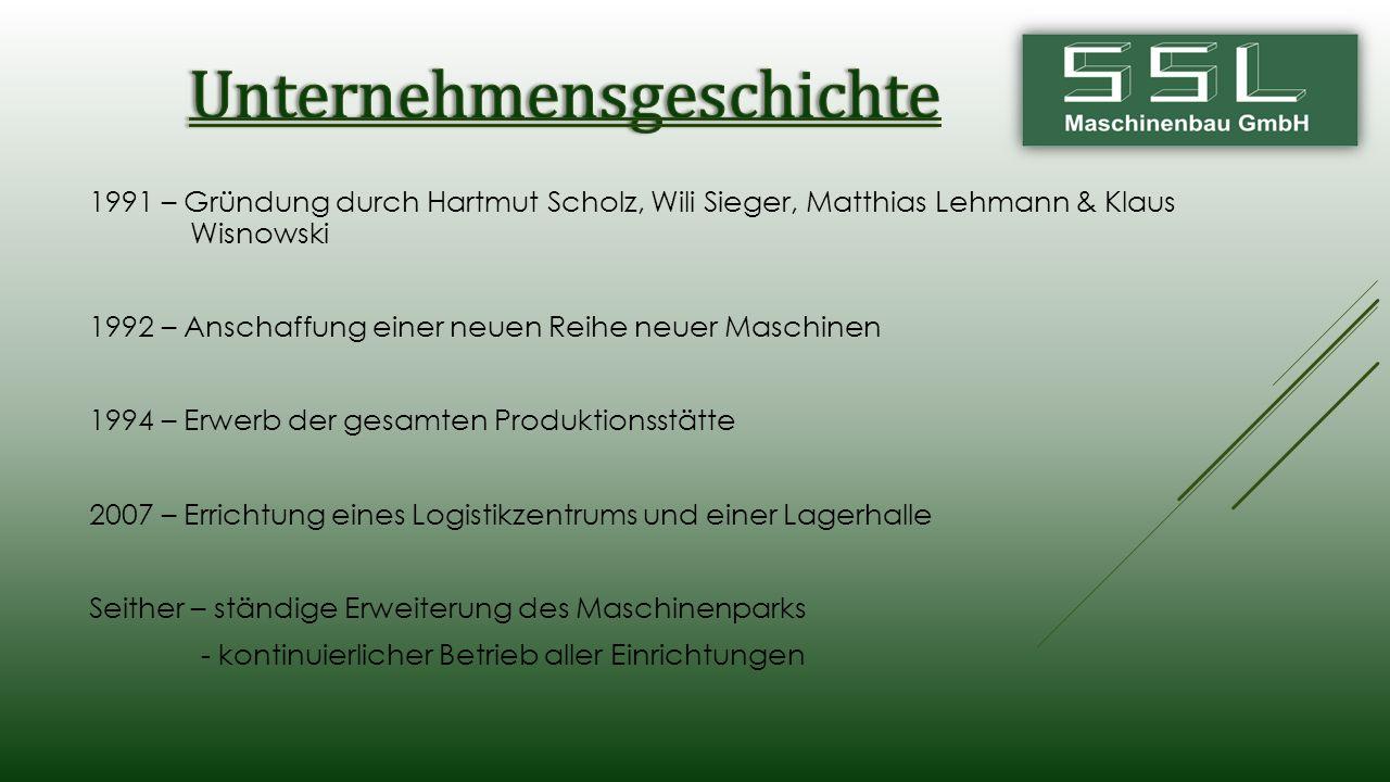 1991 – Gründung durch Hartmut Scholz, Wili Sieger, Matthias Lehmann & Klaus Wisnowski 1992 – Anschaffung einer neuen Reihe neuer Maschinen 1994 – Erwe