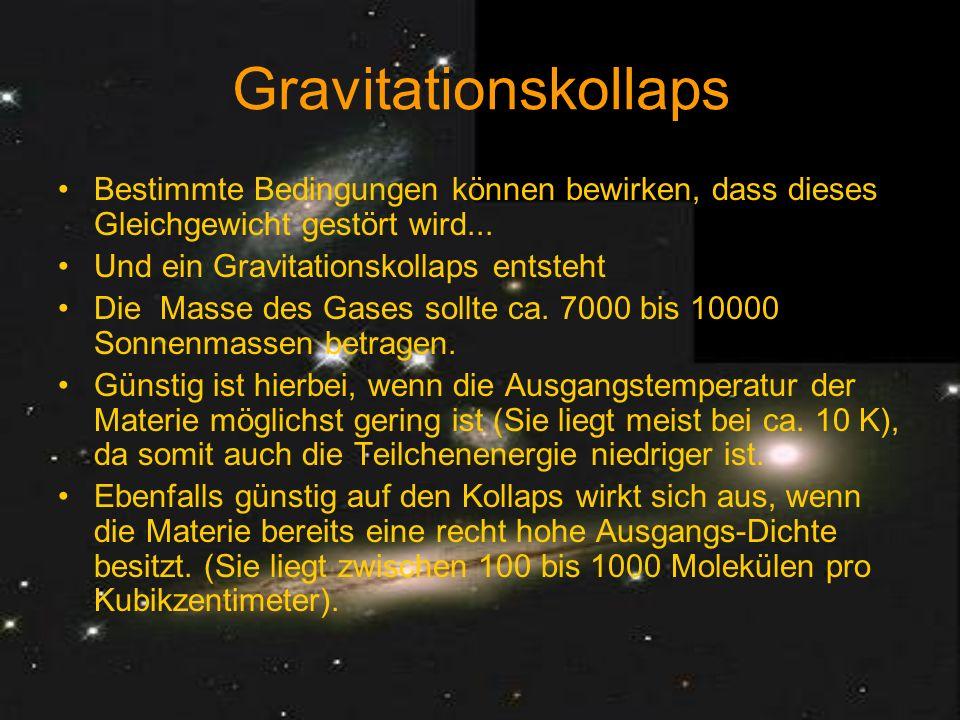 Nun kann sich aber aus dieser Riesen-Masse nicht ein einziger Stern bilden, da ja unsere Sonne, wenn das Modell stimmt, auch nach demselben Prinzip entstanden sein muß.