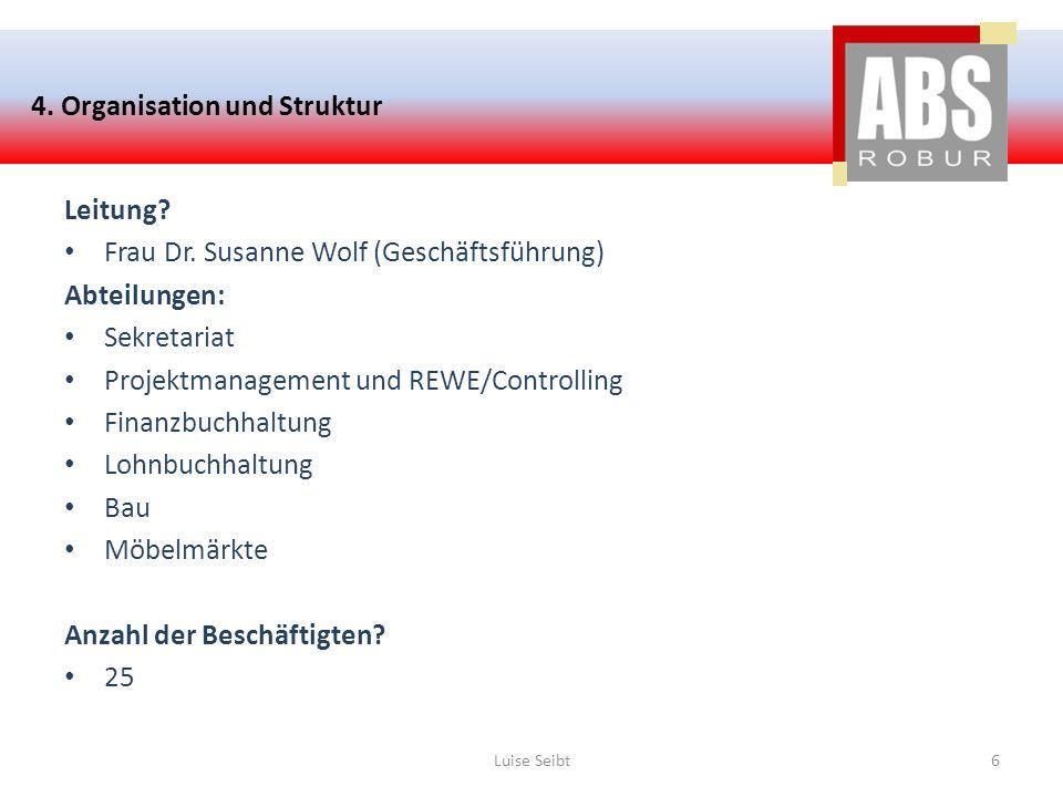 4. Organisation und Struktur Leitung? Frau Dr. Susanne Wolf (Geschäftsführung) Abteilungen: Sekretariat Projektmanagement und REWE/Controlling Finanzb