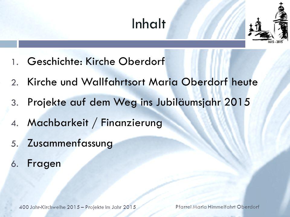 Inhalt 1. Geschichte: Kirche Oberdorf 2. Kirche und Wallfahrtsort Maria Oberdorf heute 3.