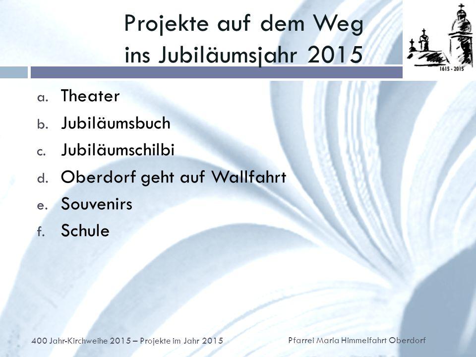 Projekte auf dem Weg ins Jubiläumsjahr 2015 a. Theater b.
