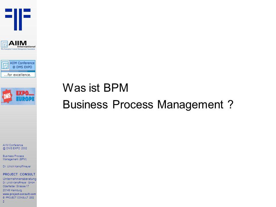 3 AIIM Conference @ DMS EXPO 2002 Business Process Management (BPM) Dr.