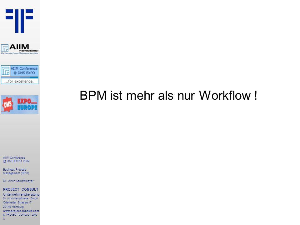 4 AIIM Conference @ DMS EXPO 2002 Business Process Management (BPM) Dr.