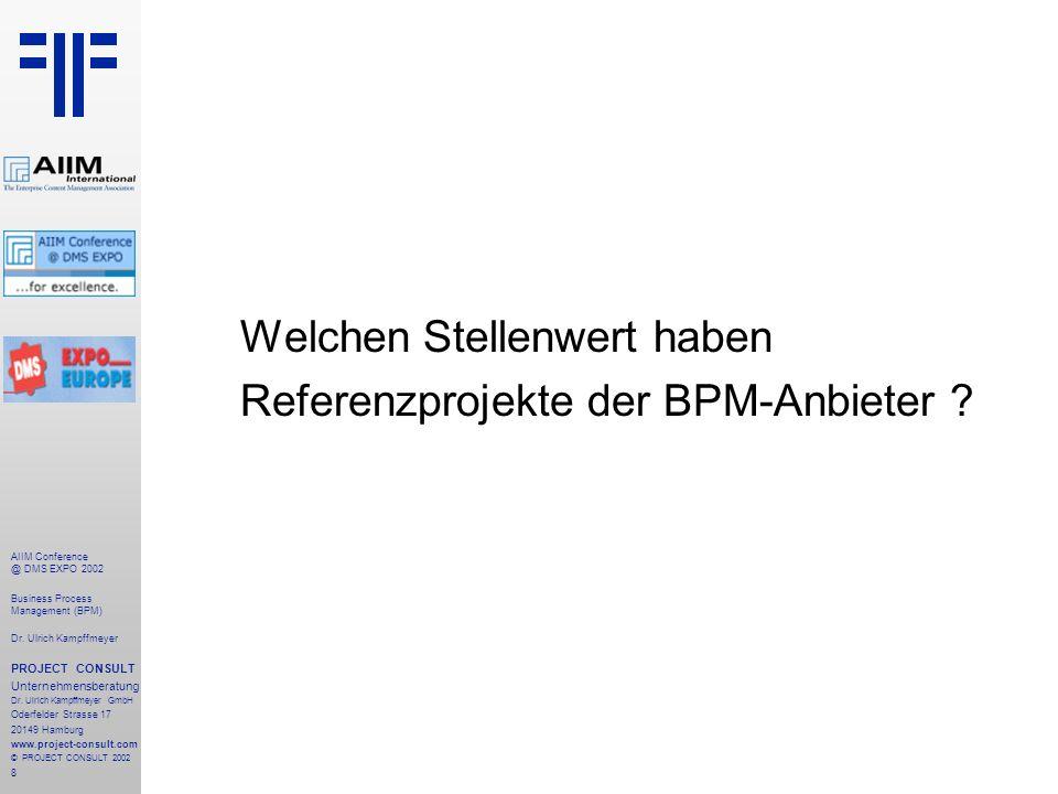 9 AIIM Conference @ DMS EXPO 2002 Business Process Management (BPM) Dr.