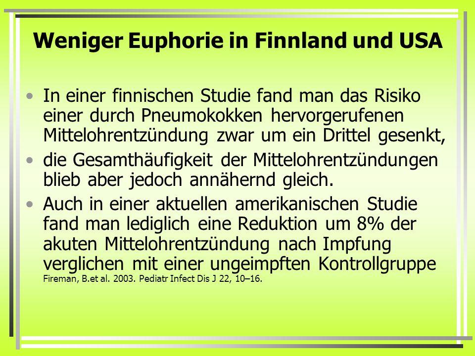 Weniger Euphorie in Finnland und USA In einer finnischen Studie fand man das Risiko einer durch Pneumokokken hervorgerufenen Mittelohrentzündung zwar