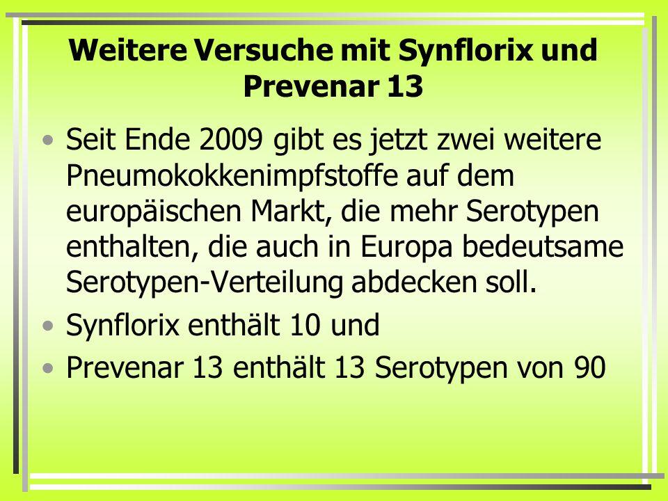 Weitere Versuche mit Synflorix und Prevenar 13 Seit Ende 2009 gibt es jetzt zwei weitere Pneumokokkenimpfstoffe auf dem europäischen Markt, die mehr S