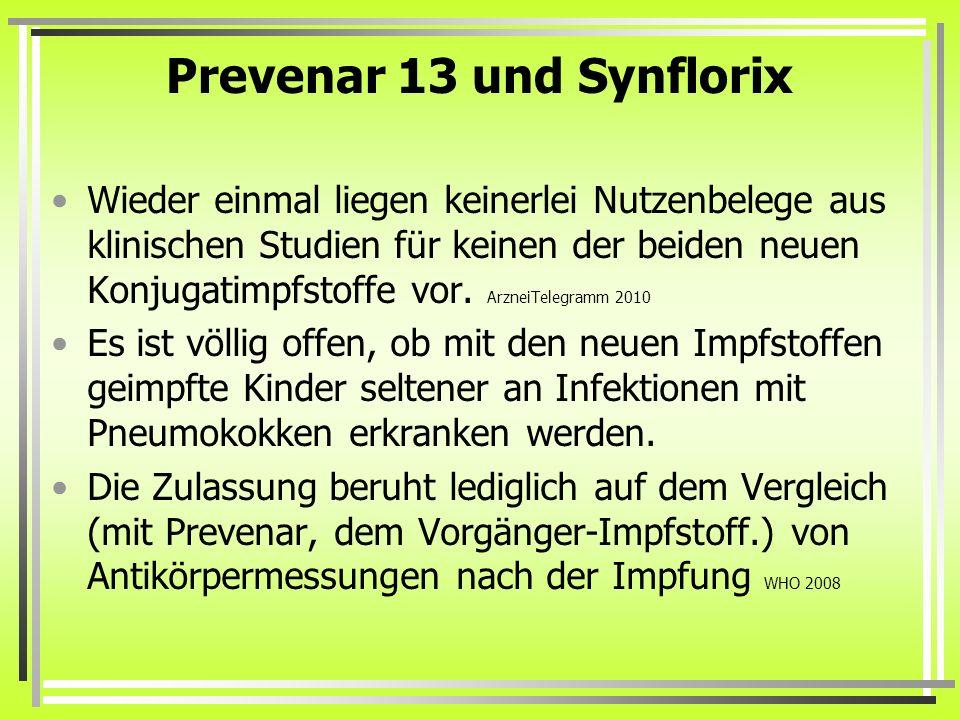 Prevenar 13 und Synflorix Wieder einmal liegen keinerlei Nutzenbelege aus klinischen Studien für keinen der beiden neuen Konjugatimpfstoffe vor. Arzne