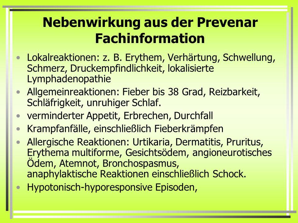 Nebenwirkung aus der Prevenar Fachinformation Lokalreaktionen: z. B. Erythem, Verhärtung, Schwellung, Schmerz, Druckempfindlichkeit, lokalisierte Lymp