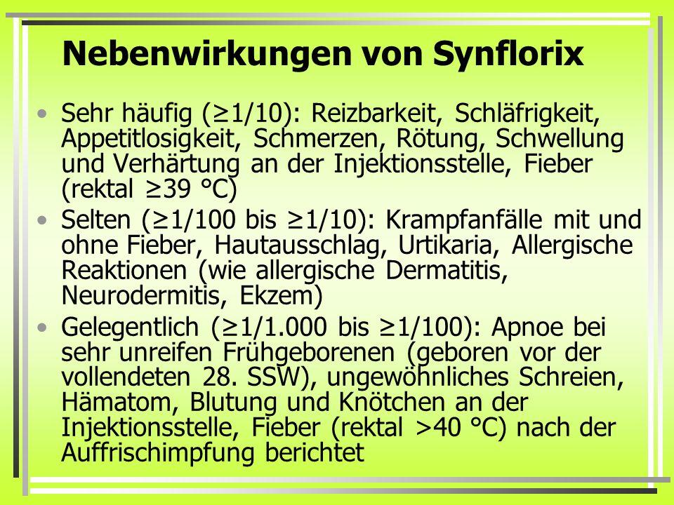 Nebenwirkungen von Synflorix Sehr häufig (≥1/10): Reizbarkeit, Schläfrigkeit, Appetitlosigkeit, Schmerzen, Rötung, Schwellung und Verhärtung an der In