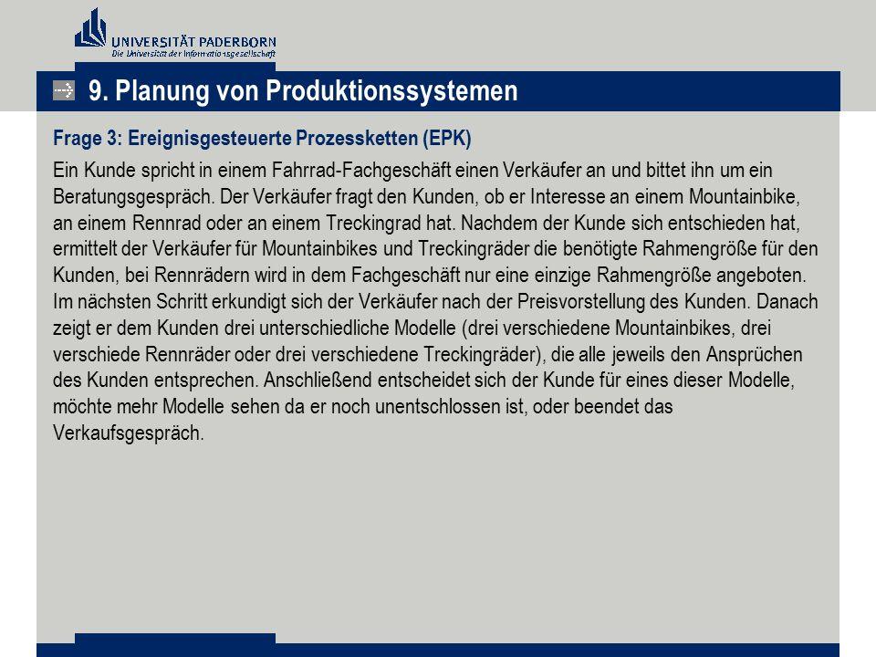9. Planung von Produktionssystemen Frage 3: Ereignisgesteuerte Prozessketten (EPK) Ein Kunde spricht in einem Fahrrad-Fachgeschäft einen Verkäufer an