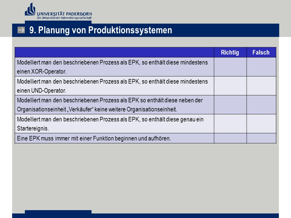 9. Planung von Produktionssystemen RichtigFalsch Modelliert man den beschriebenen Prozess als EPK, so enthält diese mindestens einen XOR-Operator. Mod