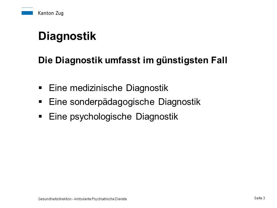 Gesundheitsdirektion - Ambulante Psychiatrische Dienste Seite 3 Diagnostik Die Diagnostik umfasst im günstigsten Fall  Eine medizinische Diagnostik 