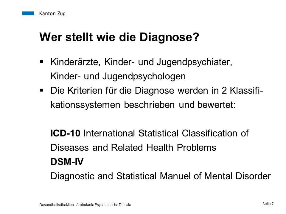 Gesundheitsdirektion - Ambulante Psychiatrische Dienste Seite 7 Wer stellt wie die Diagnose?  Kinderärzte, Kinder- und Jugendpsychiater, Kinder- und