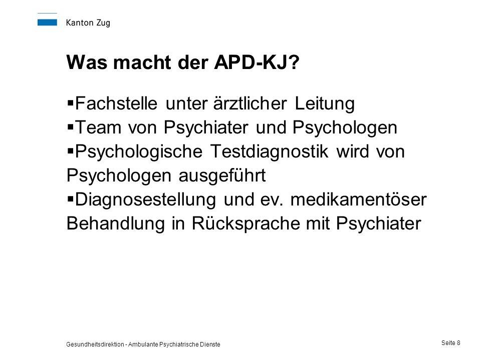 Gesundheitsdirektion - Ambulante Psychiatrische Dienste Seite 8 Was macht der APD-KJ?  Fachstelle unter ärztlicher Leitung  Team von Psychiater und