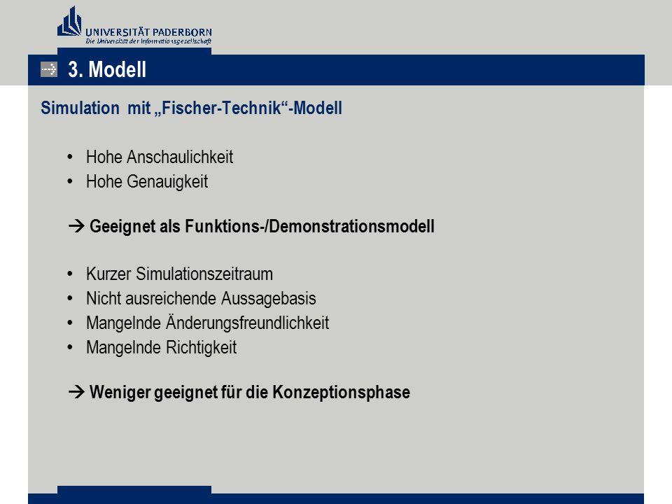 """Simulation mit """"Fischer-Technik""""-Modell Hohe Anschaulichkeit Hohe Genauigkeit  Geeignet als Funktions-/Demonstrationsmodell Kurzer Simulationszeitrau"""