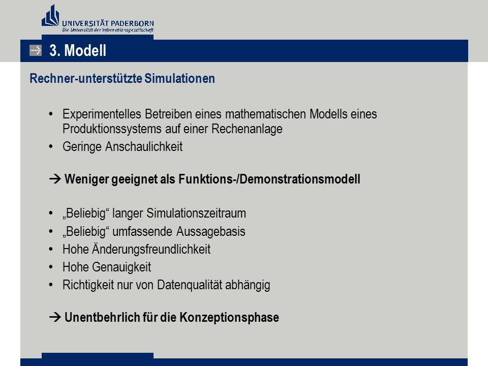 Rechner-unterstützte Simulationen Experimentelles Betreiben eines mathematischen Modells eines Produktionssystems auf einer Rechenanlage Geringe Ansch