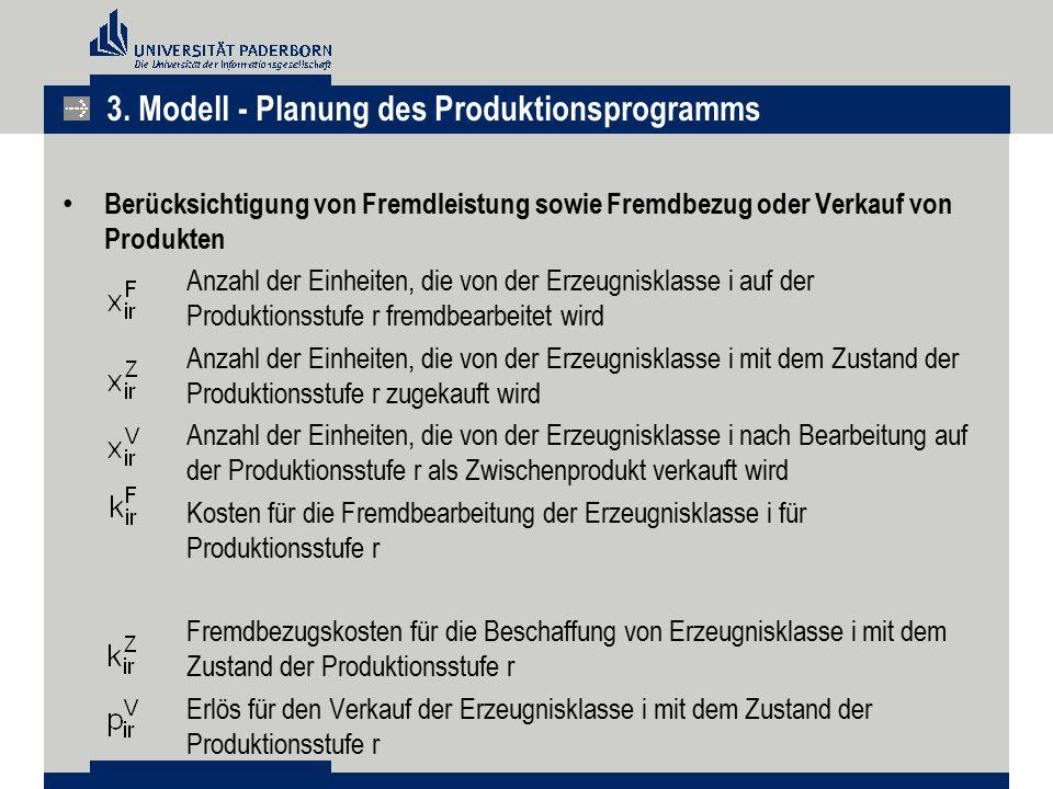 Berücksichtigung von Fremdleistung sowie Fremdbezug oder Verkauf von Produkten Anzahl der Einheiten, die von der Erzeugnisklasse i auf der Produktions