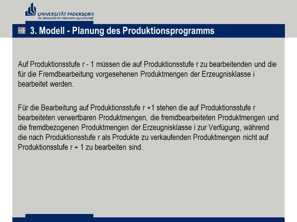 Auf Produktionsstufe r - 1 müssen die auf Produktionsstufe r zu bearbeitenden und die für die Fremdbearbeitung vorgesehenen Produktmengen der Erzeugni