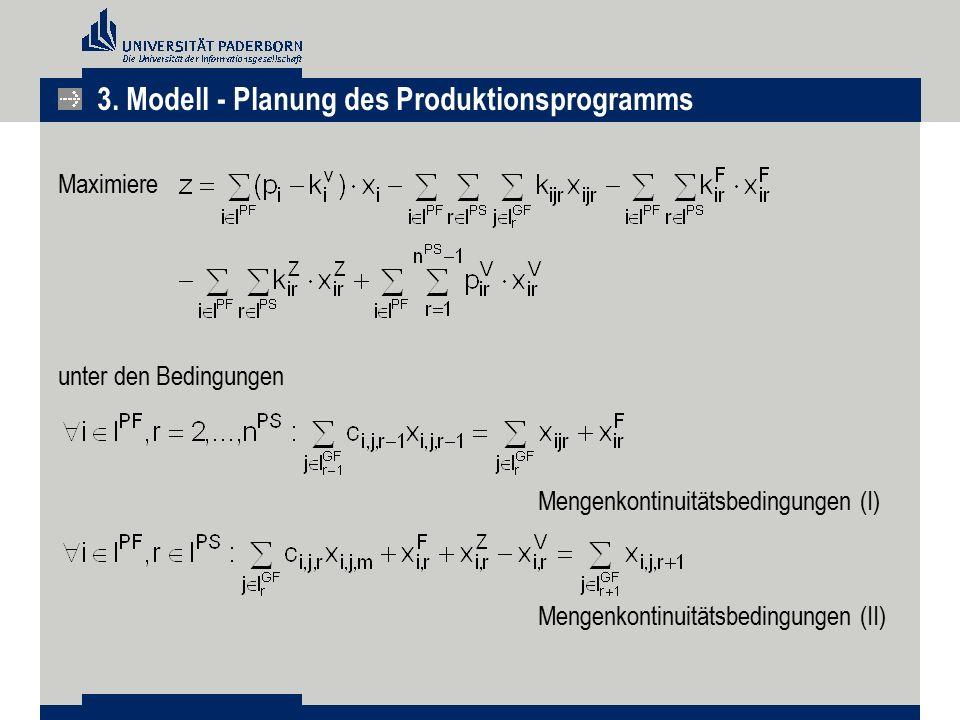 Maximiere unter den Bedingungen Mengenkontinuitätsbedingungen (I) Mengenkontinuitätsbedingungen (II) 3. Modell - Planung des Produktionsprogramms