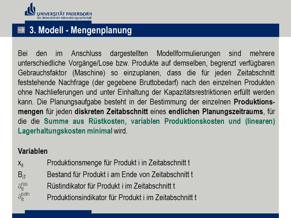 Bei den im Anschluss dargestellten Modellformulierungen sind mehrere unterschiedliche Vorgänge/Lose bzw. Produkte auf demselben, begrenzt verfügbaren