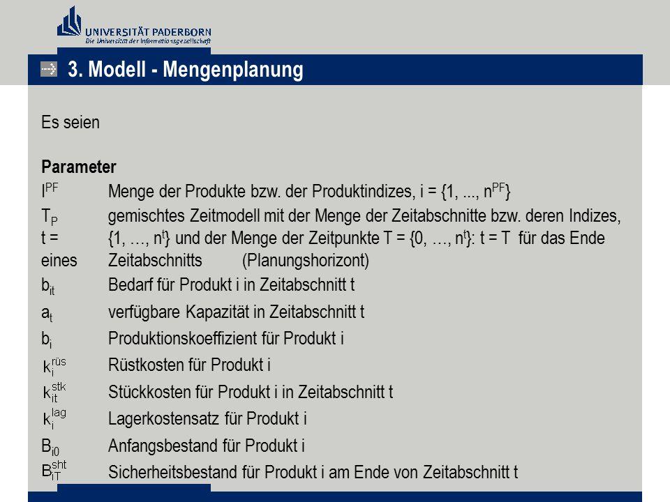 Es seien Parameter I PF Menge der Produkte bzw. der Produktindizes, i = {1,..., n PF } T P gemischtes Zeitmodell mit der Menge der Zeitabschnitte bzw.