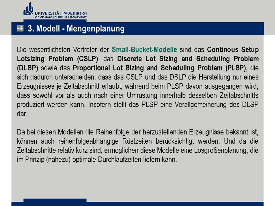 Die wesentlichsten Vertreter der Small-Bucket-Modelle sind das Continous Setup Lotsizing Problem (CSLP), das Discrete Lot Sizing and Scheduling Proble