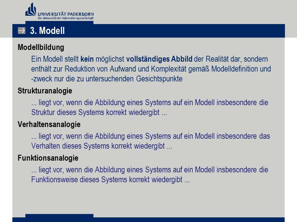 Modellbildung Ein Modell stellt kein möglichst vollständiges Abbild der Realität dar, sondern enthält zur Reduktion von Aufwand und Komplexität gemäß