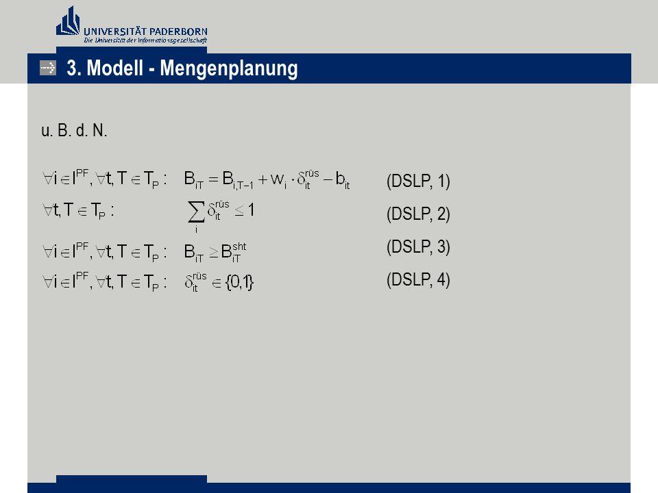 u. B. d. N. (DSLP, 1) (DSLP, 2) (DSLP, 3) (DSLP, 4) 3. Modell - Mengenplanung