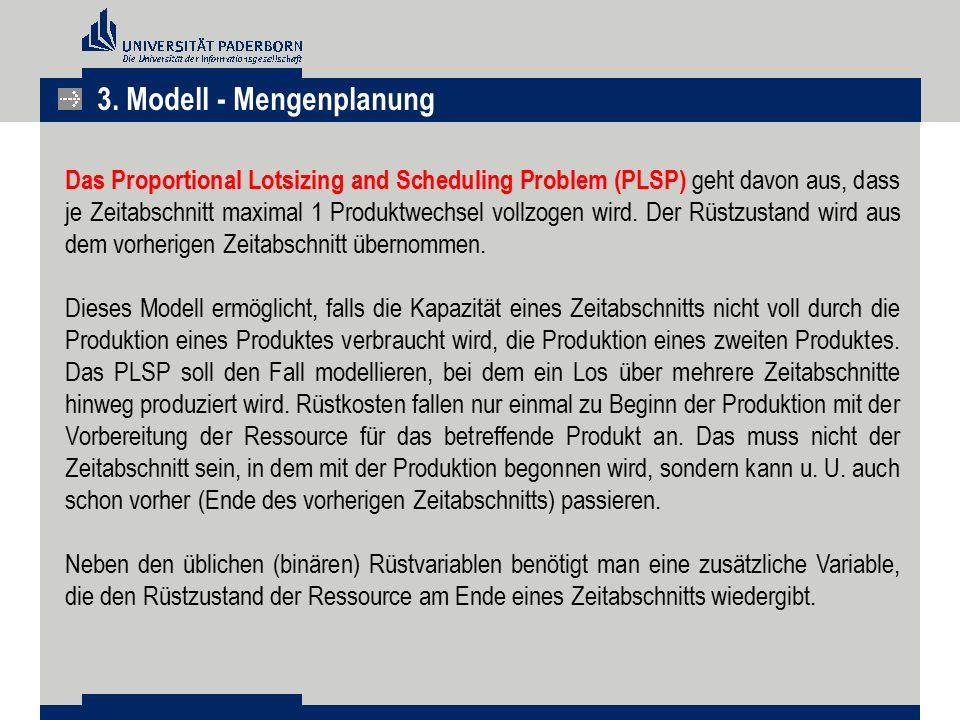 Das Proportional Lotsizing and Scheduling Problem (PLSP) geht davon aus, dass je Zeitabschnitt maximal 1 Produktwechsel vollzogen wird. Der Rüstzustan