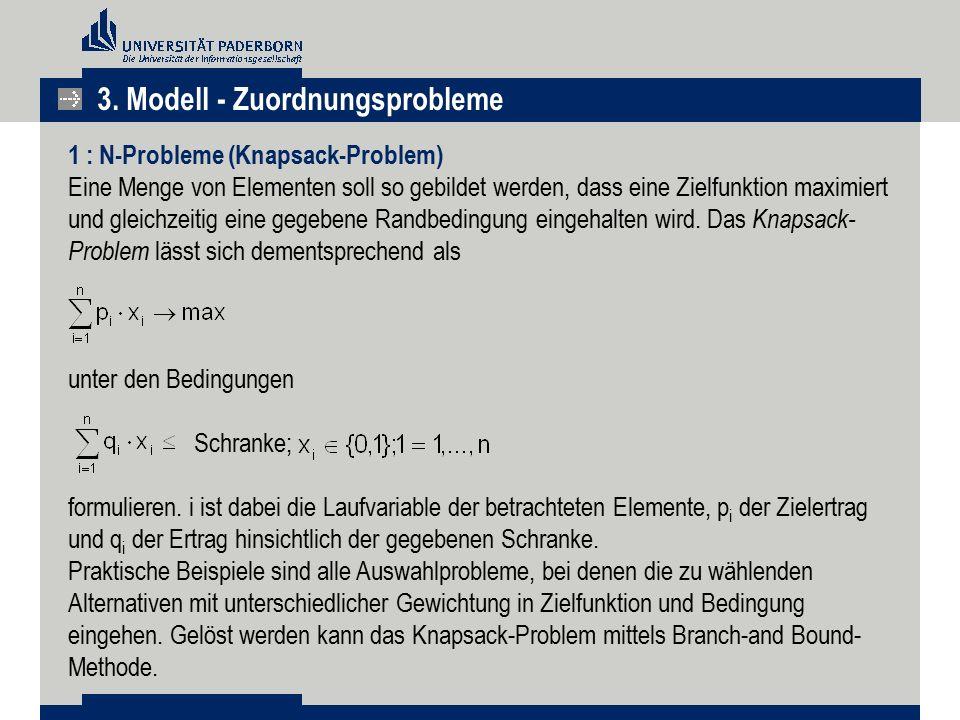 3. Modell - Zuordnungsprobleme 1 : N-Probleme (Knapsack-Problem) Eine Menge von Elementen soll so gebildet werden, dass eine Zielfunktion maximiert un