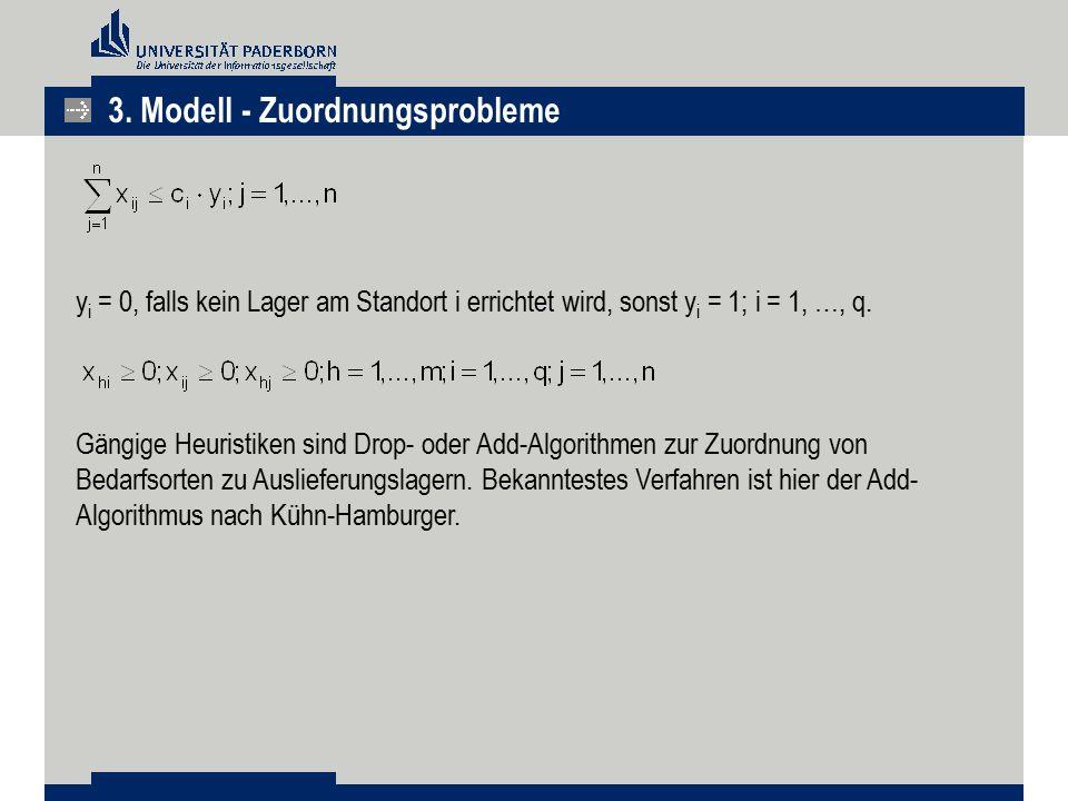 3. Modell - Zuordnungsprobleme y i = 0, falls kein Lager am Standort i errichtet wird, sonst y i = 1; i = 1, …, q. Gängige Heuristiken sind Drop- oder