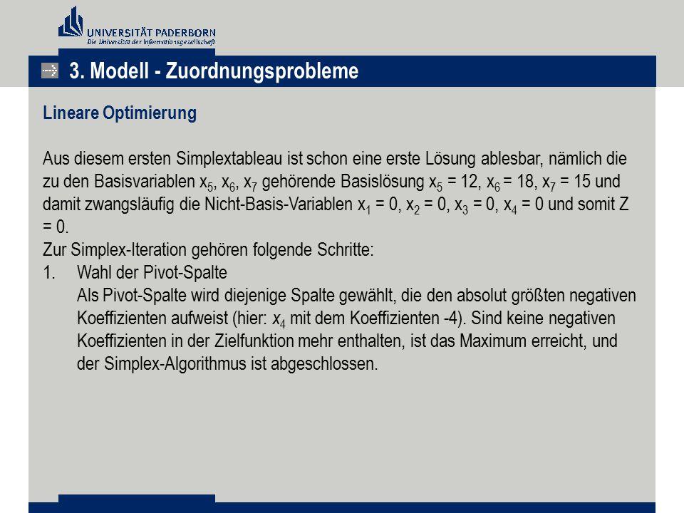 3. Modell - Zuordnungsprobleme Lineare Optimierung Aus diesem ersten Simplextableau ist schon eine erste Lösung ablesbar, nämlich die zu den Basisvari
