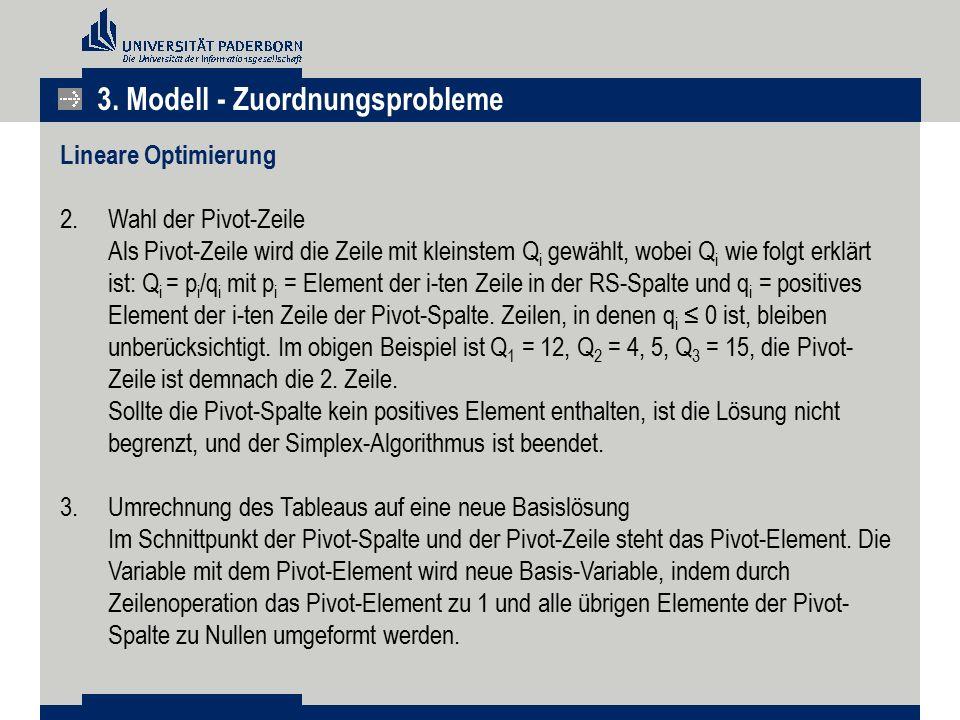 3. Modell - Zuordnungsprobleme Lineare Optimierung 2.Wahl der Pivot-Zeile Als Pivot-Zeile wird die Zeile mit kleinstem Q i gewählt, wobei Q i wie folg