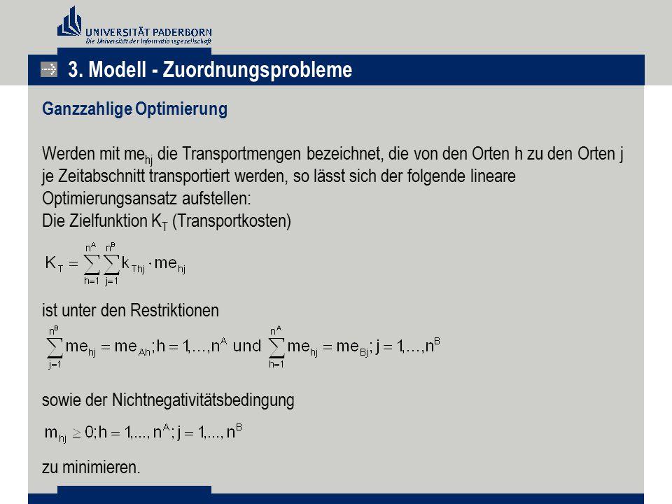 3. Modell - Zuordnungsprobleme Ganzzahlige Optimierung Werden mit me hj die Transportmengen bezeichnet, die von den Orten h zu den Orten j je Zeitabsc