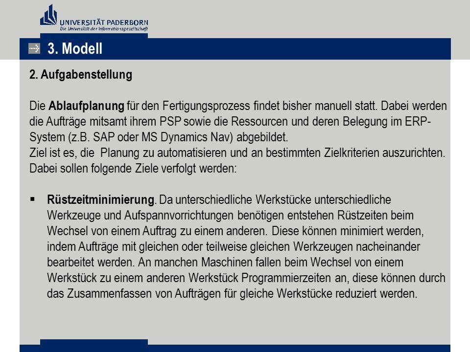 3. Modell 2. Aufgabenstellung Die Ablaufplanung für den Fertigungsprozess findet bisher manuell statt. Dabei werden die Aufträge mitsamt ihrem PSP sow