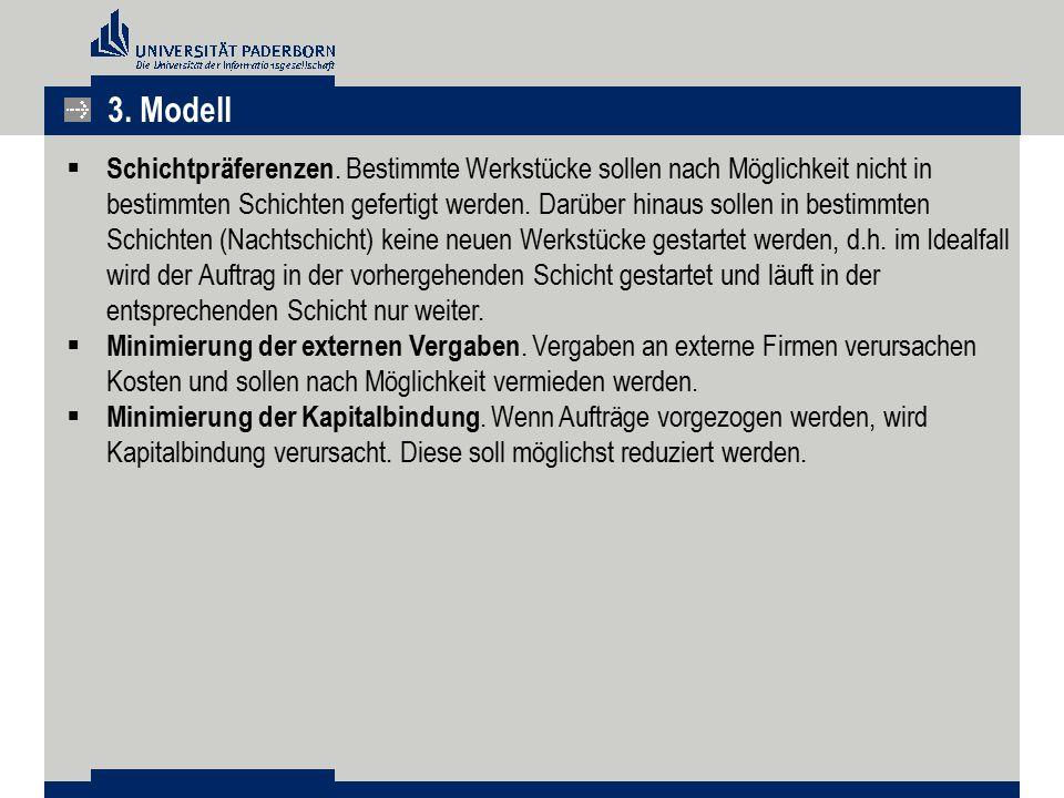 3. Modell  Schichtpräferenzen. Bestimmte Werkstücke sollen nach Möglichkeit nicht in bestimmten Schichten gefertigt werden. Darüber hinaus sollen in