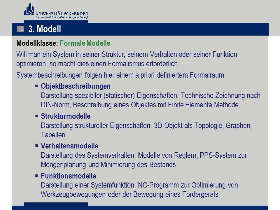 Modellklasse: Formale Modelle Will man ein System in seiner Struktur, seinem Verhalten oder seiner Funktion optimieren, so macht dies einen Formalismu